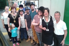 Meeting the Glasgow Lord Provost at the horses.